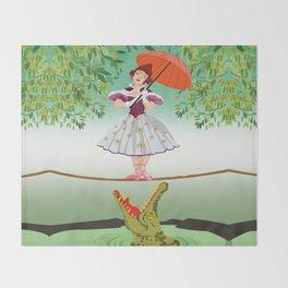 The Umbella girl With crocodile Throw Blanket