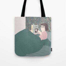 chilling with books Tote Bag