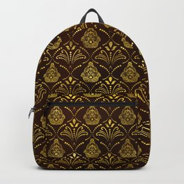 Hamsa Hand pattern -gold on brown glass Backpack
