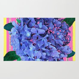 BLUE ABSTRACTED HYDRANGEA YELLOW-PINK Rug
