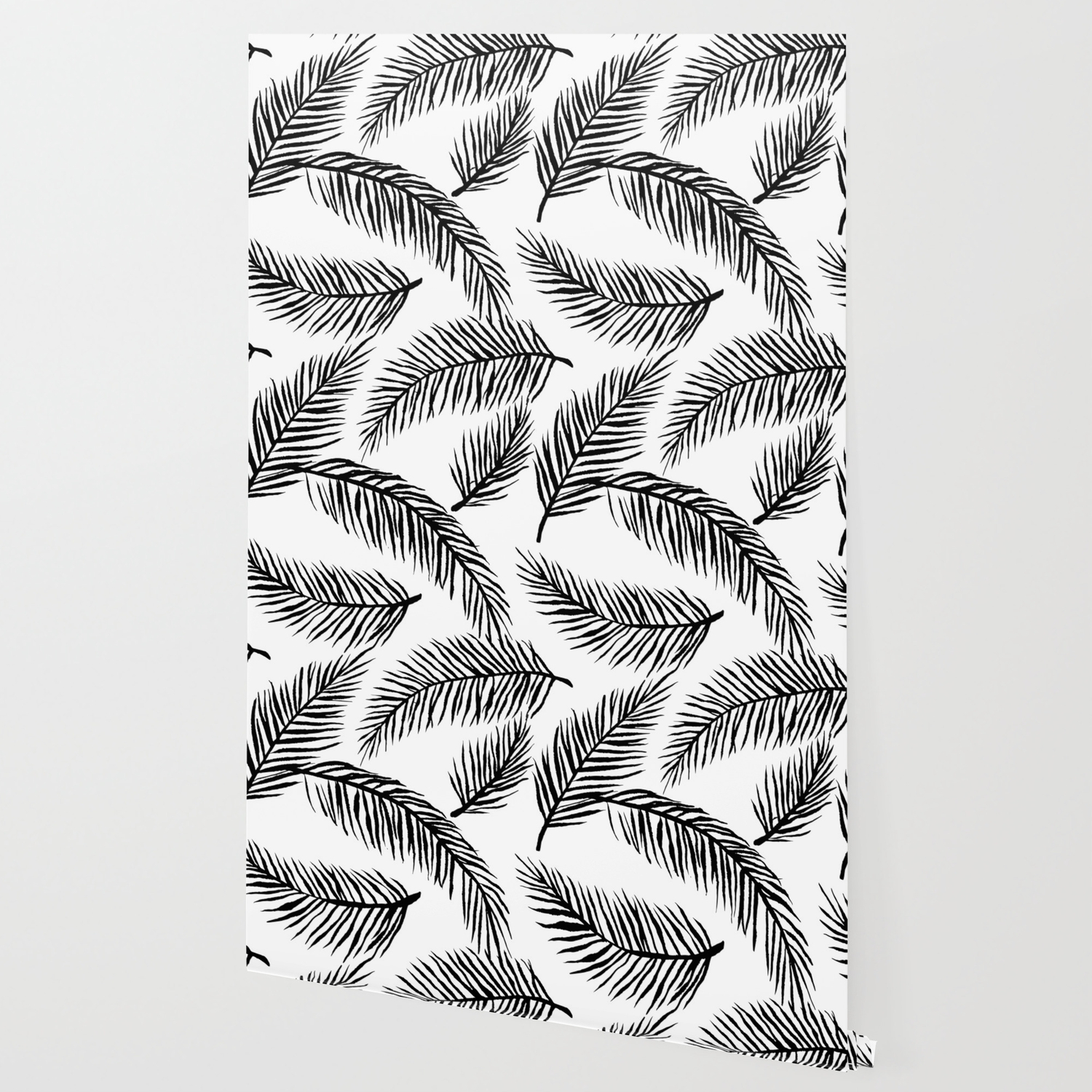 Black White Palm Leaves Wallpaper By Amandarachlee Society6 Browse our tropical leaves wallpaper collection with filter setting like size, type, color etc. black white palm leaves wallpaper by amandarachlee