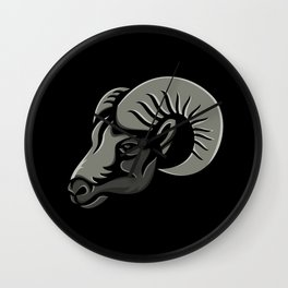 Bighorn Sheep Metallic Icon Wall Clock