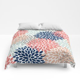 Floral Bloom Print, Living Coral, Pale Aqua Blue, Gray, Navy Comforters
