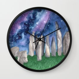 """Purple Galaxy & Callanish Stones"" watercolor landscape painting Wall Clock"