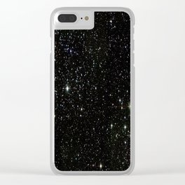 Universe Space Stars Planets Galaxy Black and White Clear iPhone Case