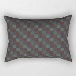 Rustic Blue Brown and Green Patchwork Rectangular Pillow