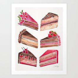 Cake Slices – Pink & Brown Palette Art Print