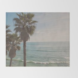 palm tree and ocean. California Vacation Throw Blanket