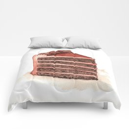 Chocolate Layer Cake Slice Comforters