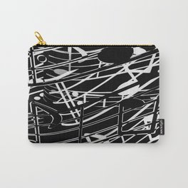 music note sign abstract background in black and white Carry-All Pouch