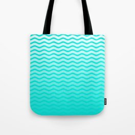 Bright Turquoise and White Faded Chevron Wave Tote Bag