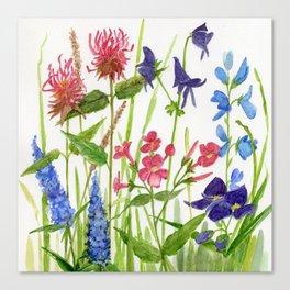 Garden Flowers Botanical Floral Watercolor on Paper Canvas Print