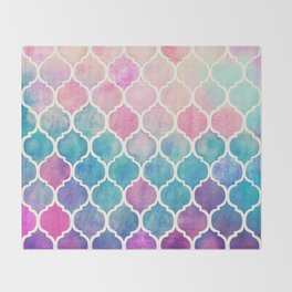 Rainbow Pastel Watercolor Moroccan Pattern Throw Blanket