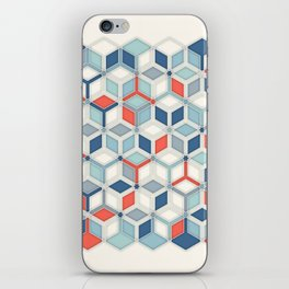 Soft Red, White & Blue Hexagon Pattern Play iPhone Skin