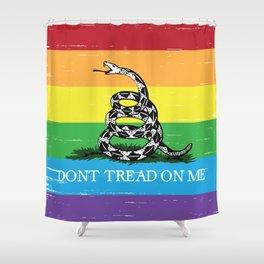 Gadsden flag LGBT Don't tread on me Libertarian rainbow flag Shower Curtain