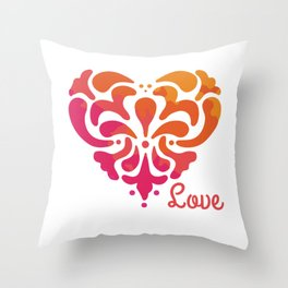 Rainbow Watercolor Damask Heart Throw Pillow