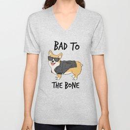 Bad to the Bone Corgi Unisex V-Neck