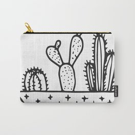 Cactus House Garden Black and White Carry-All Pouch