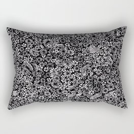 Lost Among the Flowers Detail Illustration Rectangular Pillow