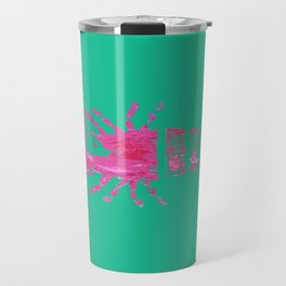 Pink and Green Palm Beach Lobster Travel Mug