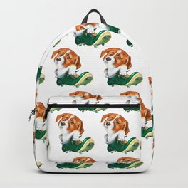 A little dog in a spike Backpack