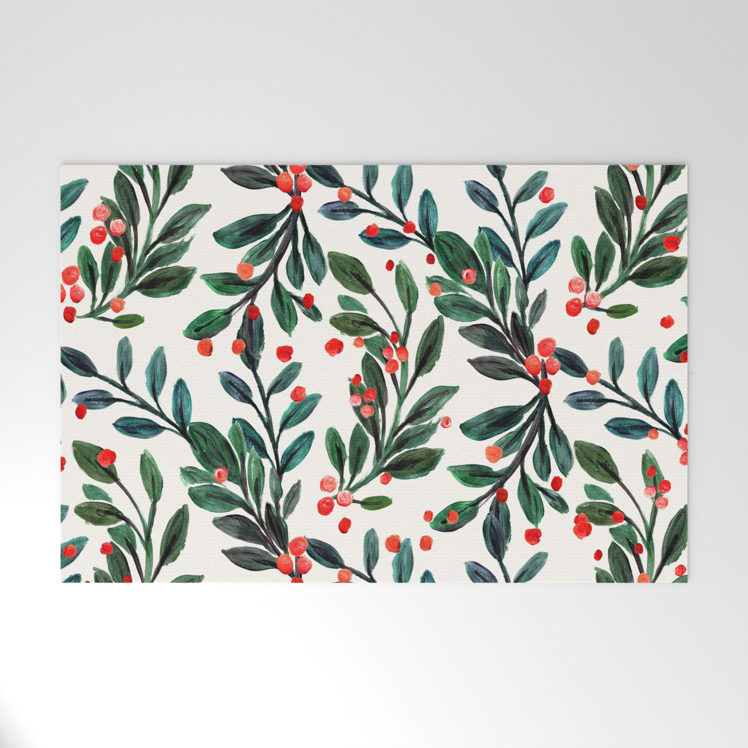 Mistletoe And Red Berries Welcome Mat By Crystalwalen Society6