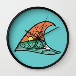 Wave in a Wave - Teal Wall Clock