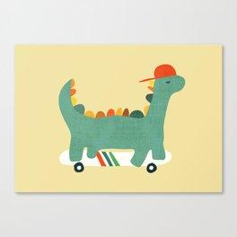 Dinosaur on retro skateboard Canvas Print