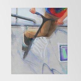Downhill Run - Stunt Scooter Rider Throw Blanket