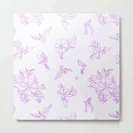 beautiful,violet,floral,shabby chic,pattern,french chic, country chic, vintage, Metal Print