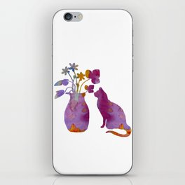 Cat and flowers iPhone Skin
