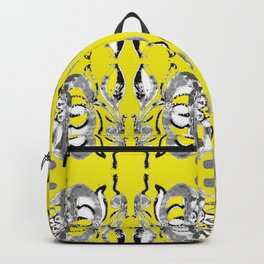 Classic contemporary flower tile design in yellow and grey tones Backpack