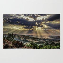 Landscape photograph of, Sunshine over Hope valley, Peak District, U.K. Rug