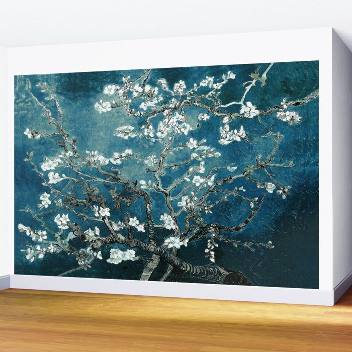 Van Gogh Almond Blossoms : Dark Teal Wall Mural