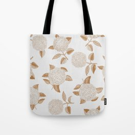 Classic, atermporal, elegant floral golden on off-white pattern.Vintage look. Big hydrangeas. Tote Bag