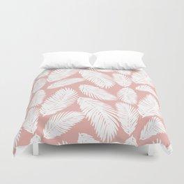 White Tropical Palm Tree Fern Leaf on Rose Gold Pattern Duvet Cover