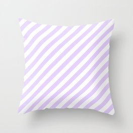 Chalky Pale Lilac Pastel and White Candy Cane Stripes Throw Pillow