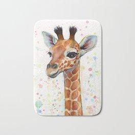 Giraffe Baby Animal Watercolor Whimsical Nursery Animals Bath Mat
