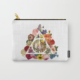 Floral Deathly Hallows Owl and Stag - White Carry-All Pouch