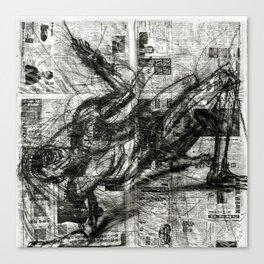 Breaking Loose - Charcoal on Newspaper Figure Drawing Canvas Print