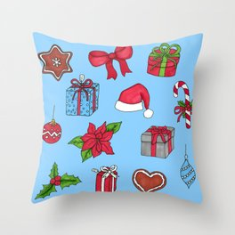 Christmas pattern (#1 blue) Throw Pillow