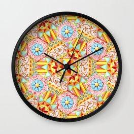 Pink Paisley Hexagons Wall Clock