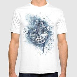 Millennium falcon #mono on white T-shirt