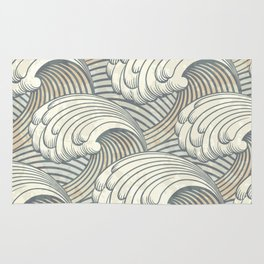 Ocean Waves Pattern Ancient Japan Art Rug