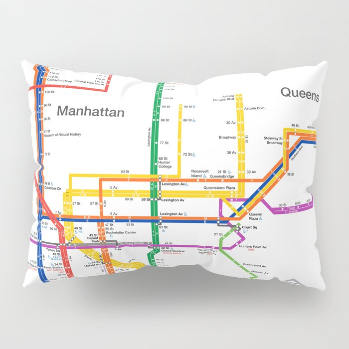 New York City subway map Pillow Sham