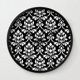 Feuille Damask Pattern White on Black Wall Clock