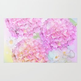Pink Hortensias and other flowers Rug