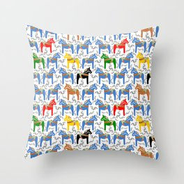 Dala Horse pattern Throw Pillow