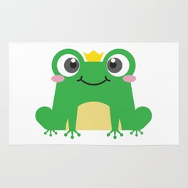 Cute cartoon frog is sitting with crown Rug