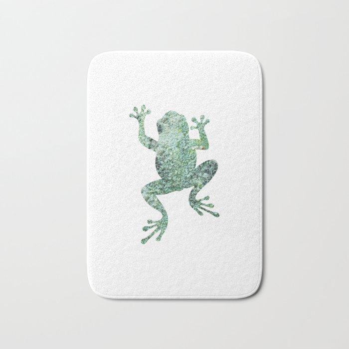 green lichen crawling frog silhouette Bath Mat